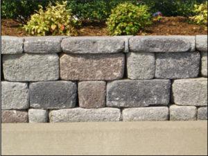 Up-close shot of stone retaining wall